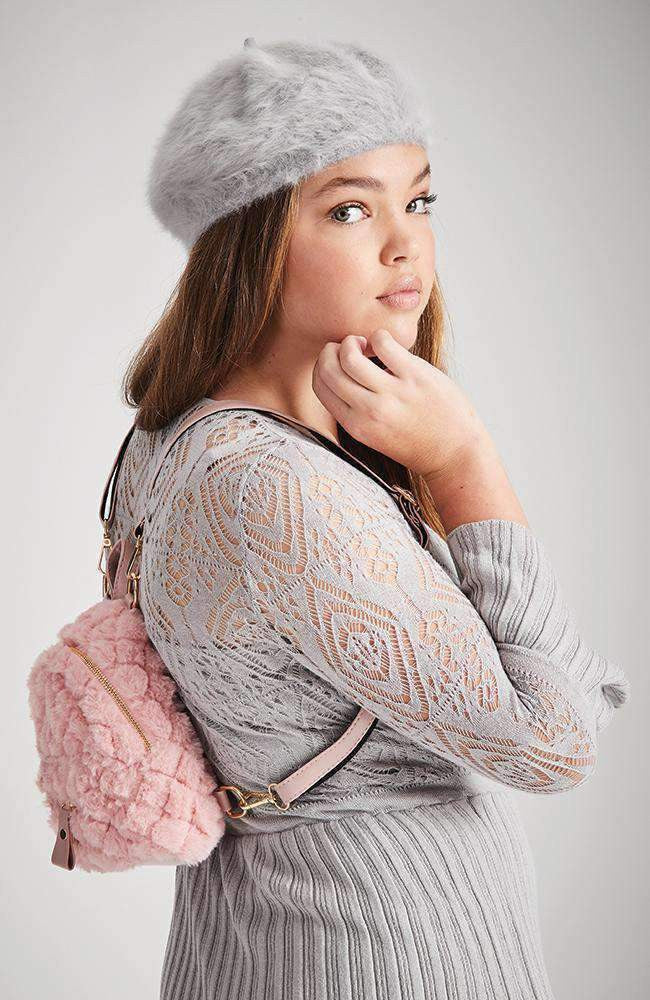 quilted fluffy faux fur mini backpack