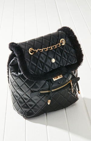alps quilted faux fur backpack