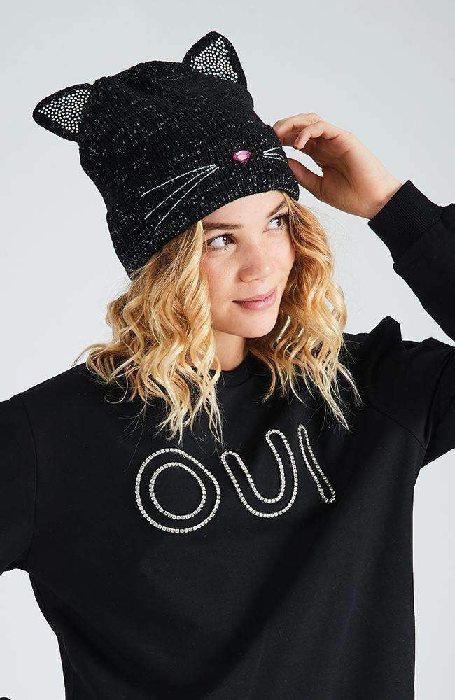lurex kitten black silver & pink diamante beanie