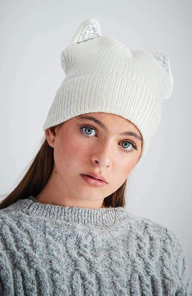 party cat cream & siver lurex sequin beanie