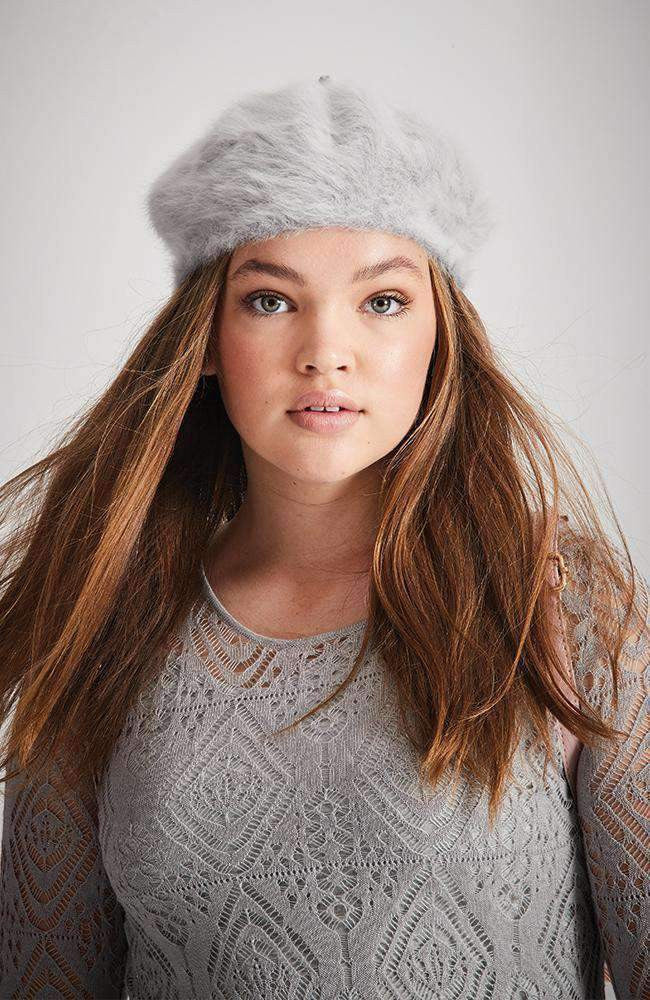 fluffy soft blue grey beret