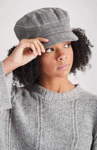 oxford black & white checked hat