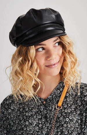 braided black faux leather hat