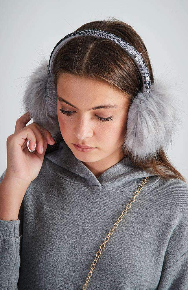 reversible sequin fluffy pastel earmuffs