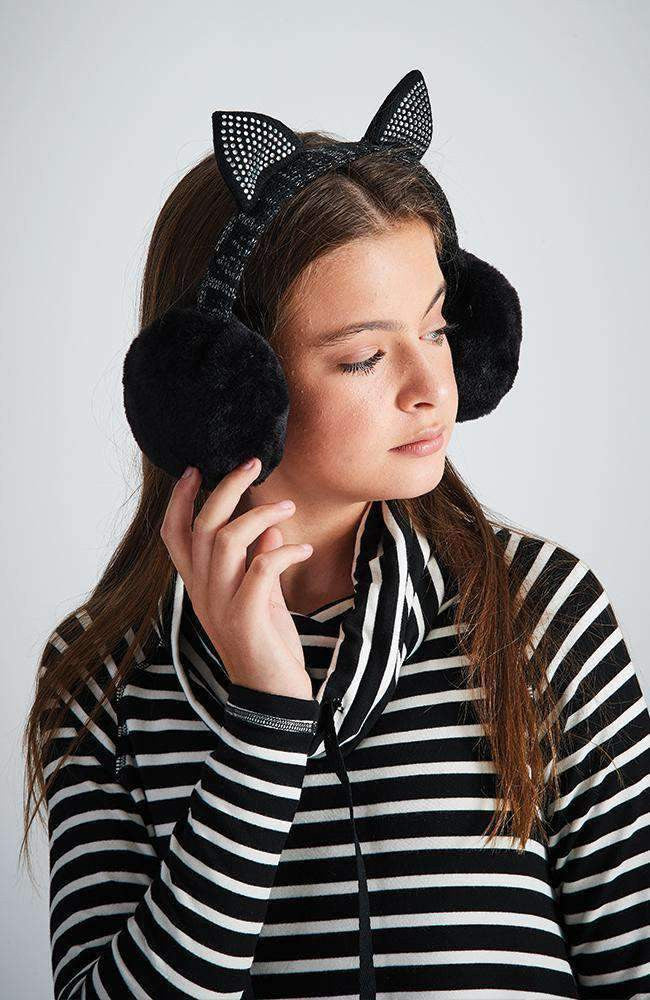 lurex kitten black diamante earmuffs