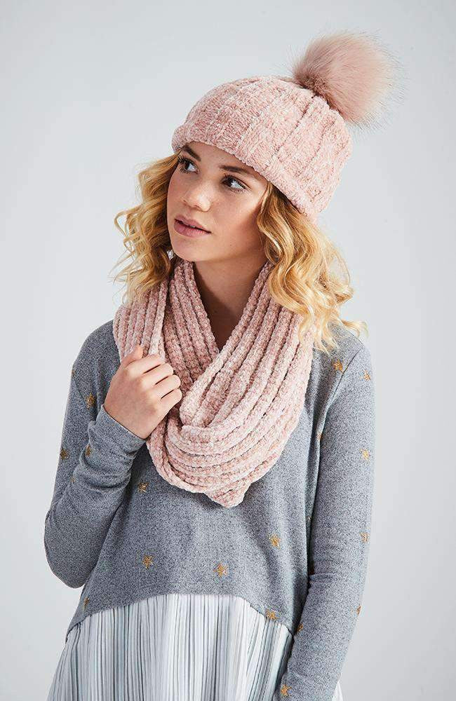 chenille pastel pink ribbed snood