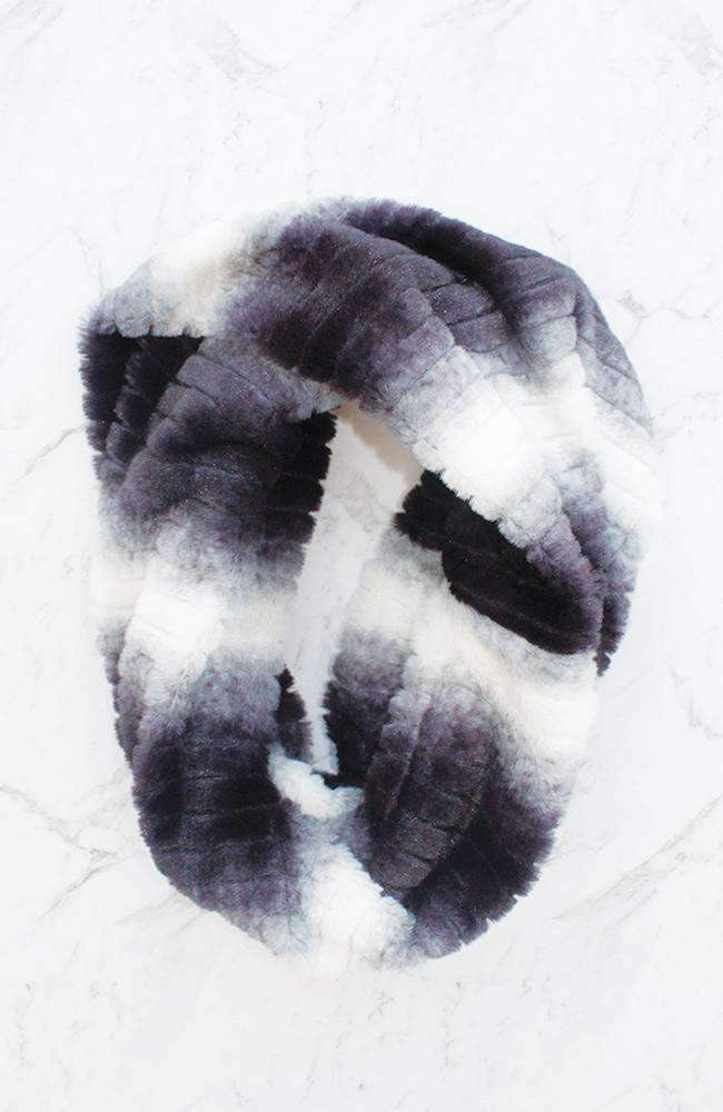 faux fur black & white stripes snood
