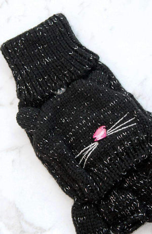 lurex kitten black silver & pink diamante gloves