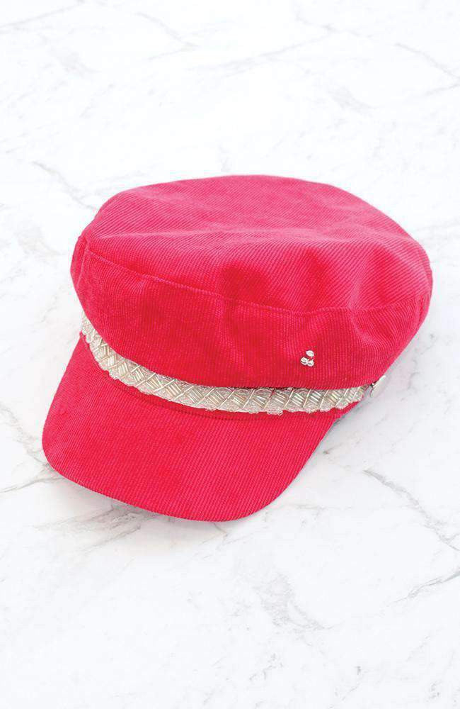 amelia red corduroy sparkle hat
