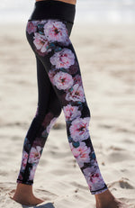 christine black & pink floral active legging