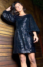 laurina black/ silver sequins puffed sleeve a line girls party dress