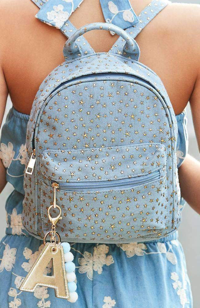 gold star denim galaxy casual backpack