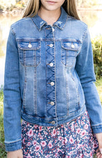 dorothy mid blue tailored fit denim jacket