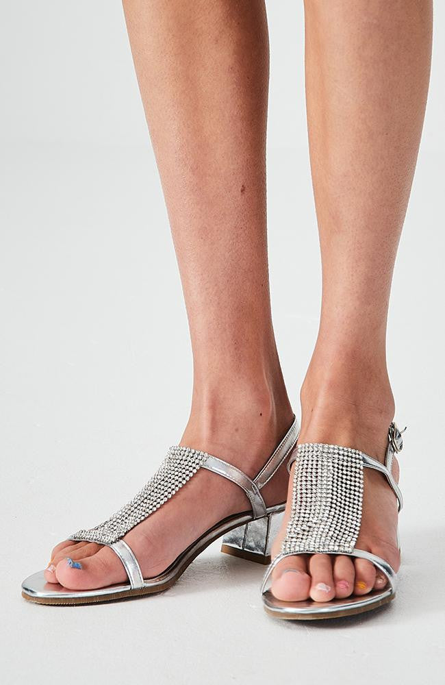 diamond crystal silver metallic party heeled sandals