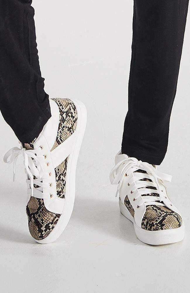 snake star studded white vegan leather hightop sneakers