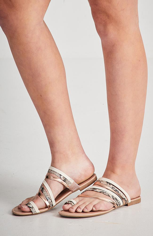 metallic snake vegan leather elastic sandals