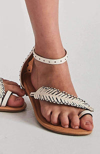 malibu studded white vegan leather boho party sandals