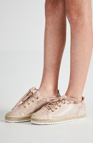 paris metallic espradrille boho perforated sneakers