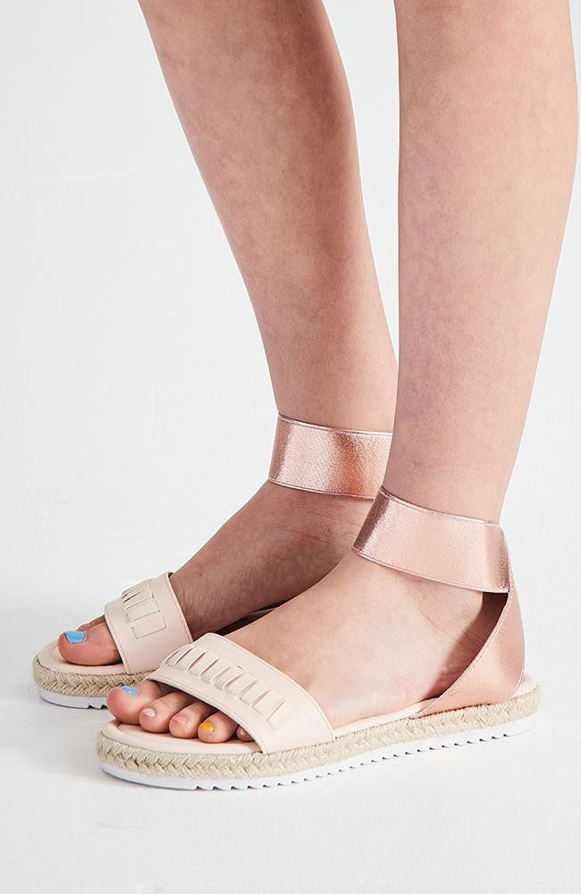 paris holiday pastel pink metallic elastic espradrille sandals