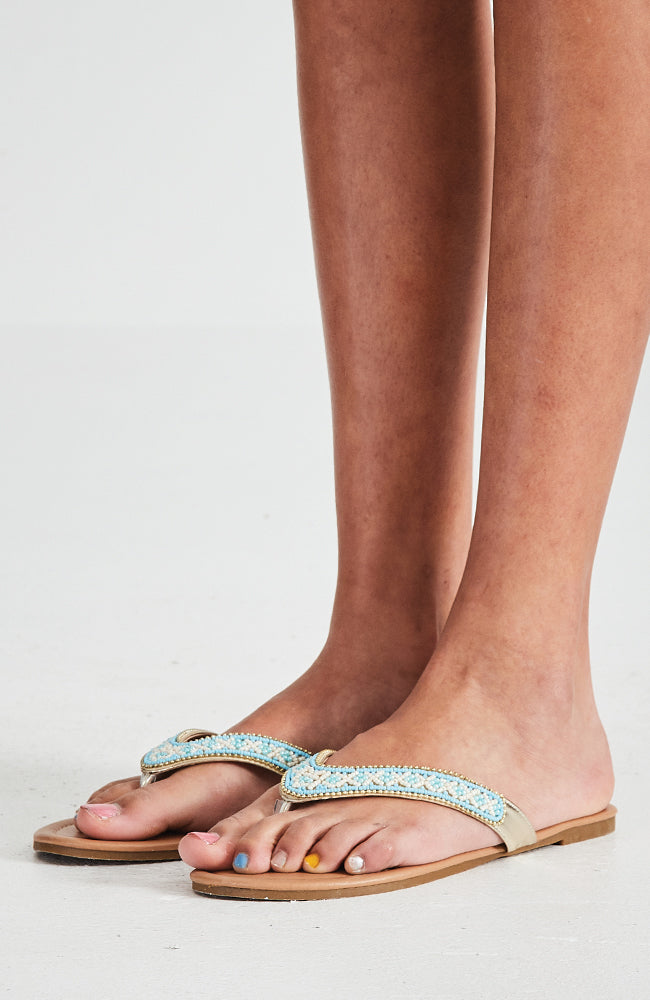 valencia blue gold beaded boho vegan slide sandals