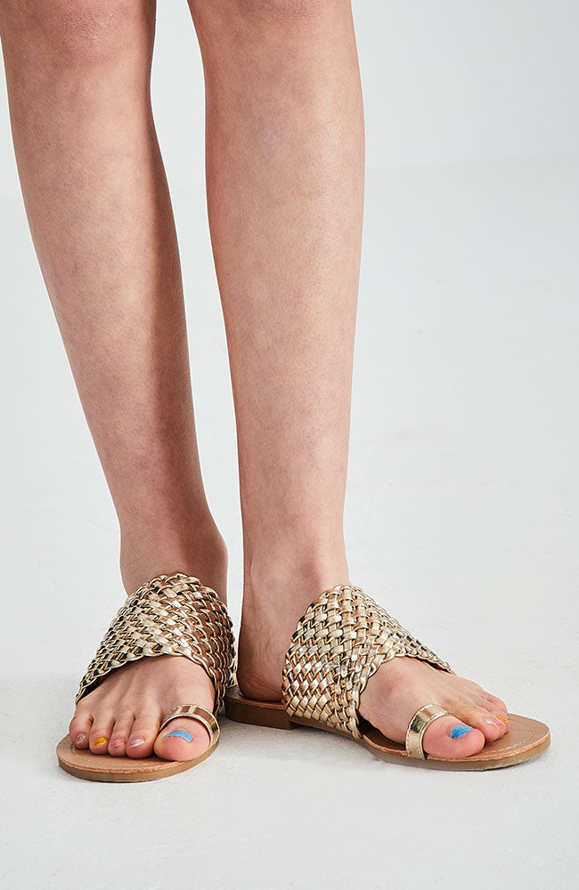metallic gold braided vegan leather boho party slide sandals