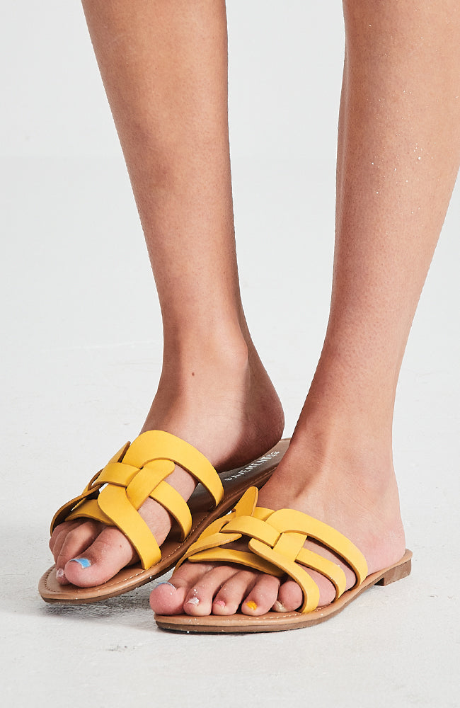 icon yellow classic vegan leather slide sandals