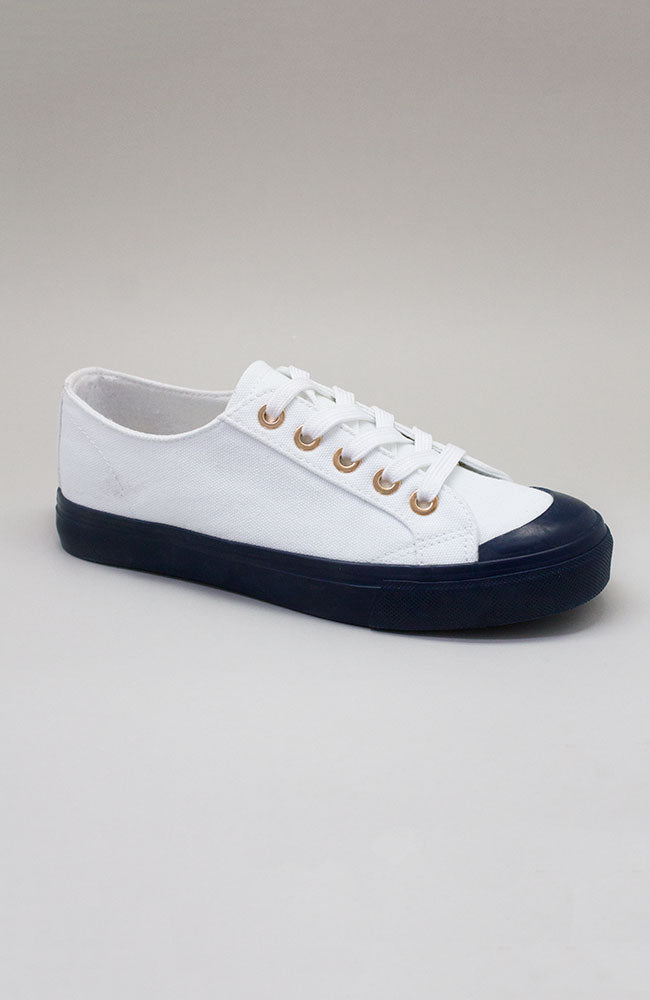 hamptons classic colour block nautical white canvas sneaker