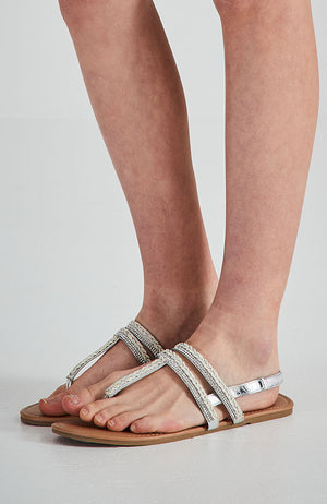 fuji silver embellished vegan leather boho strappy party sandals