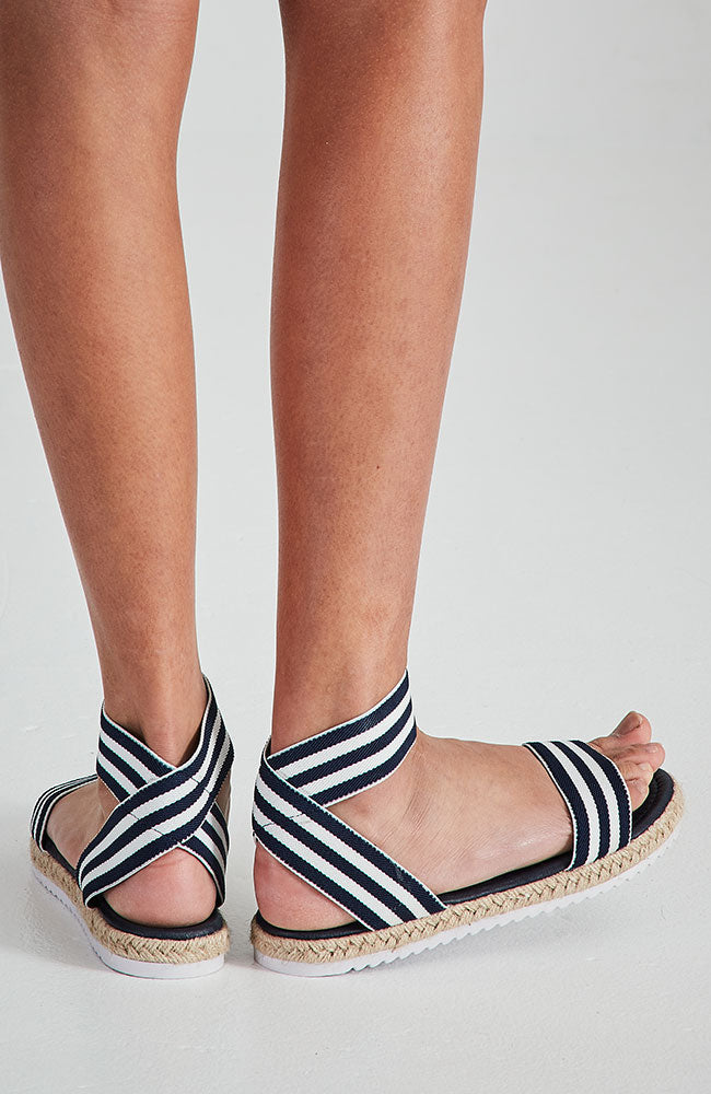 roman holiday striped elastic espradrille nautical sandals