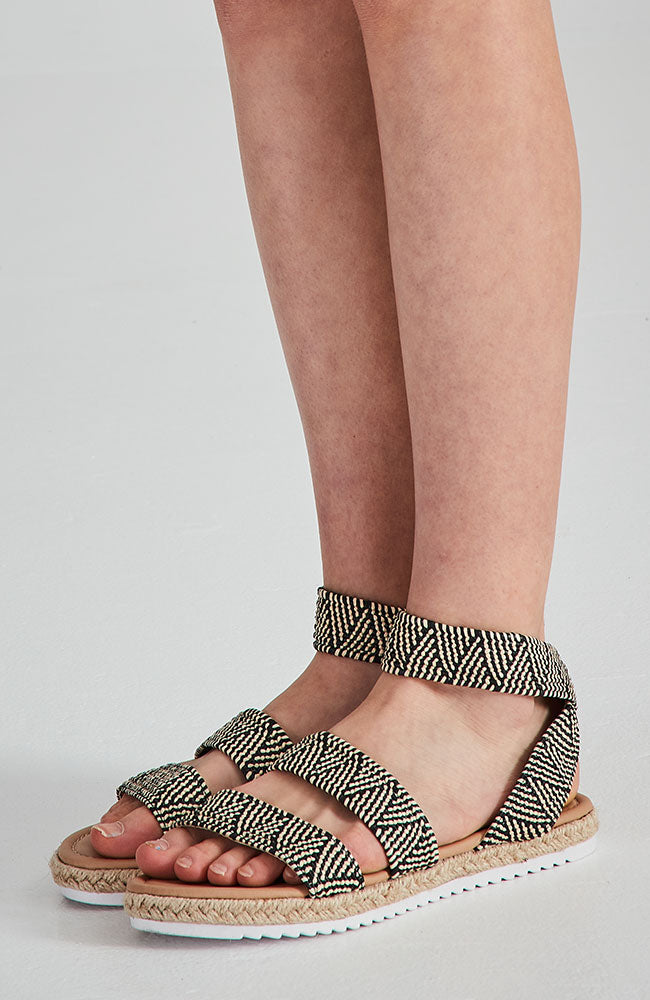 geometric braided vegan leather boho elastic sandals