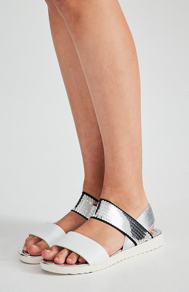 sequin sporty vegan leather metallic elastic sandals