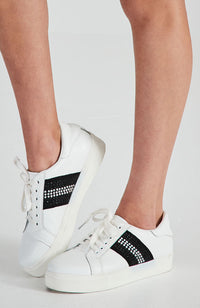 diamond crystal striped white vegan leather sneakers