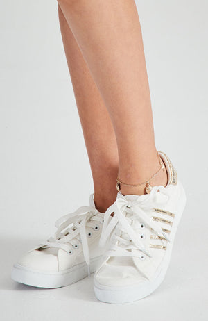 gold striped white canvas vegan sneakers
