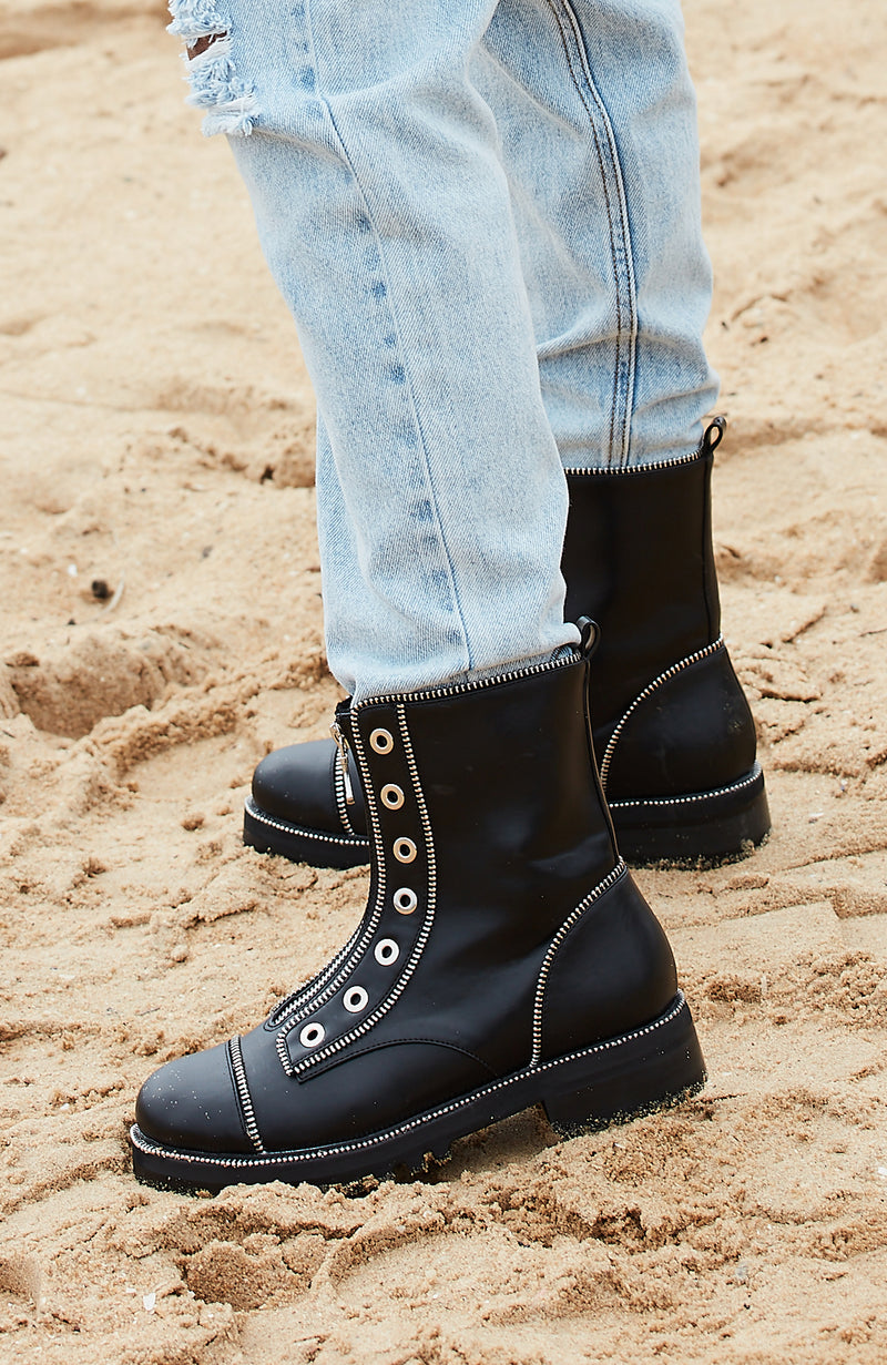 Nana Statement Zip Combat Boot Premium Vegan Leather - Black