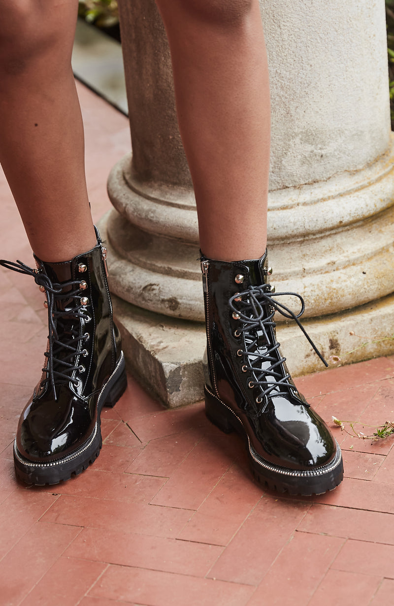 Stud Patent Lace-Up Combat Boot Premium Vegan Leather