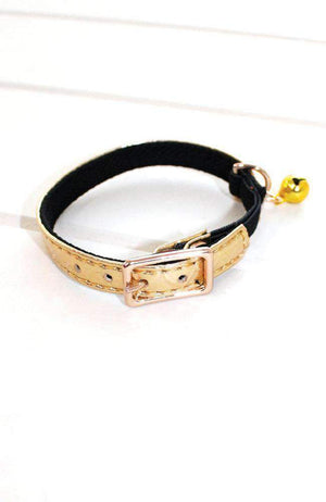 gold metallic crocodile vegan leather fashion kitten cat collar