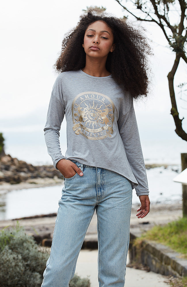 gold & grey paris amour long sleeve tee
