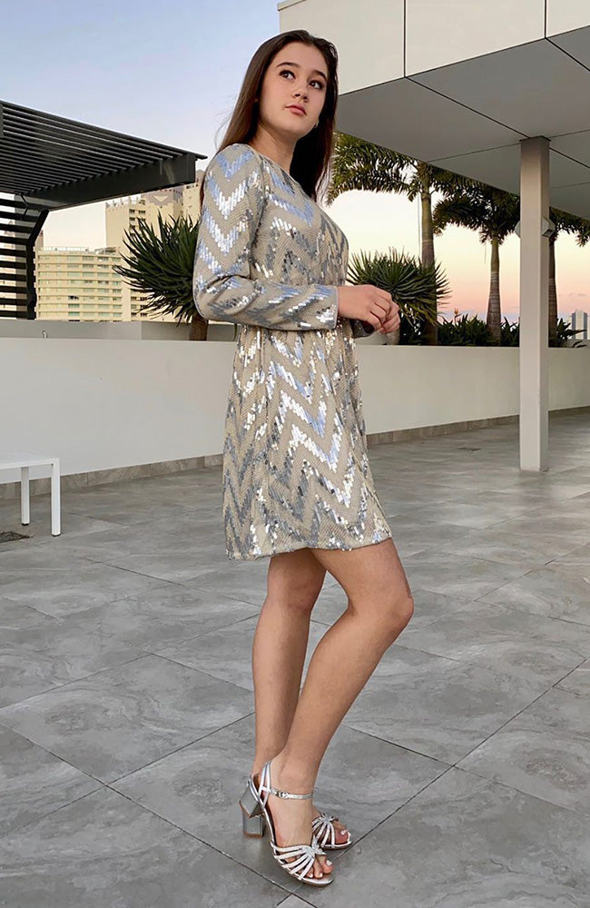 jemima silver sequins a line party dress