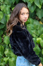 jessa black fluffy faux faur zip through girls jacket
