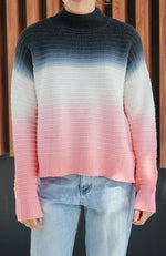 kaelyn dip dye high neck high low zip girls knit top