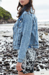 kimber party blue tailored fit rips girls denim jacket