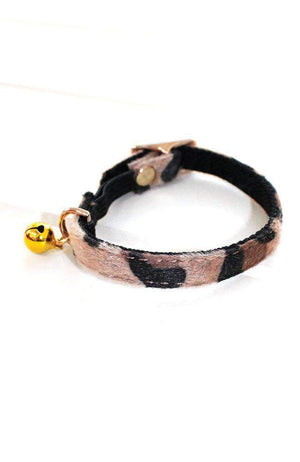 leopard vegan leather fashion kitten cat collar