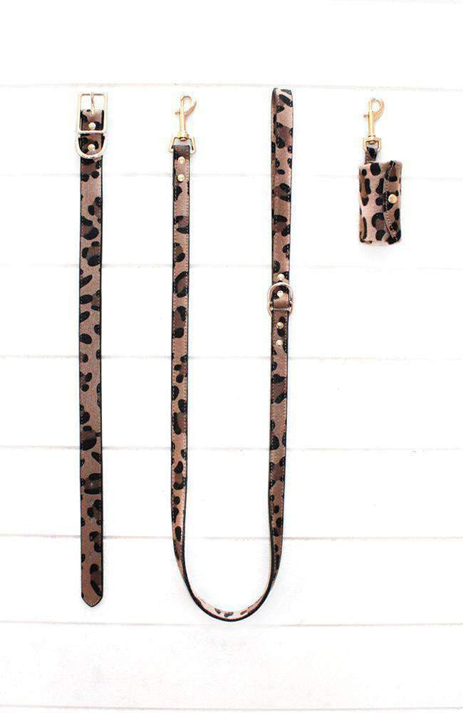 leopard vegan leather dog poop waste bag holder
