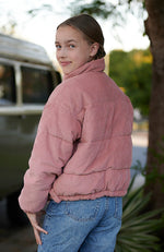 lyn pink corduroy zip through girls puffer jacket