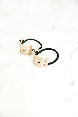 star gold metal laser cut ponytail holder hair tie
