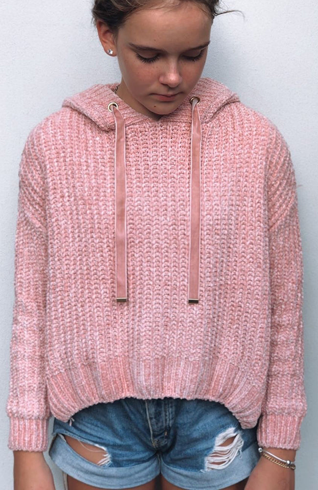 lola pink hooded split back girls knit top