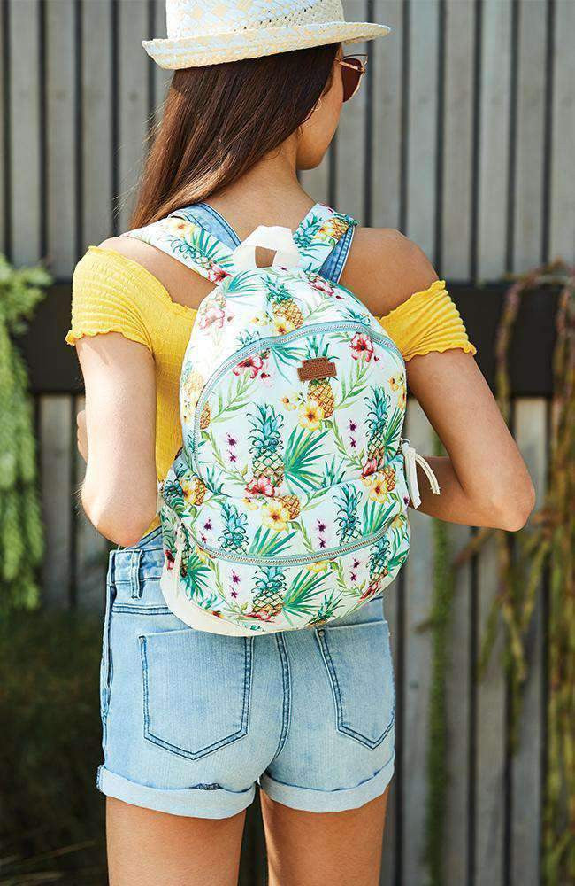 fiji pineapple tropical print canvas backpack