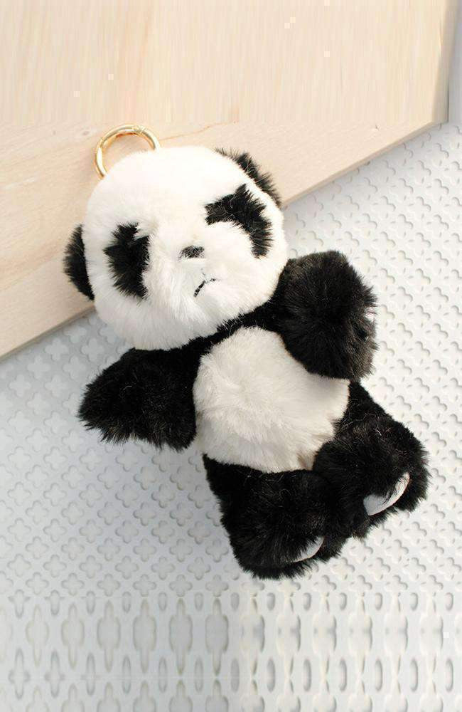 fluffy panda collectable keyring