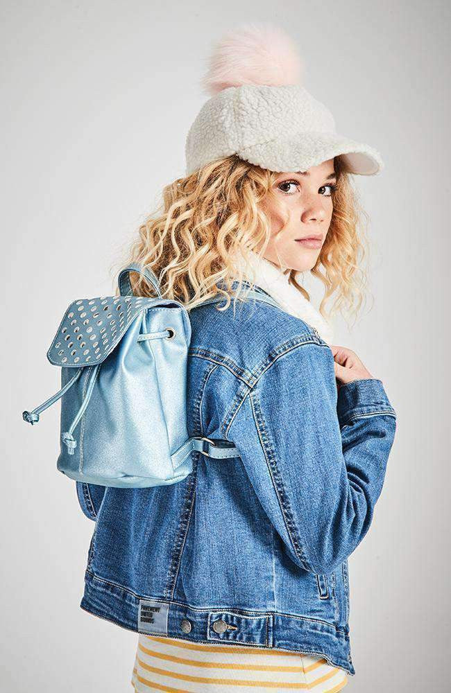 shimmer spots metallic pastel mini backpack