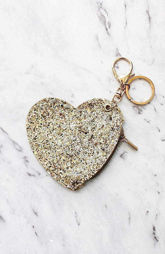 glitter heart coin purse